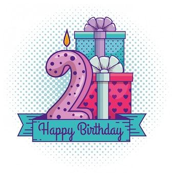 Joyeux anniversaire avec décoration de bougie numéro deux
