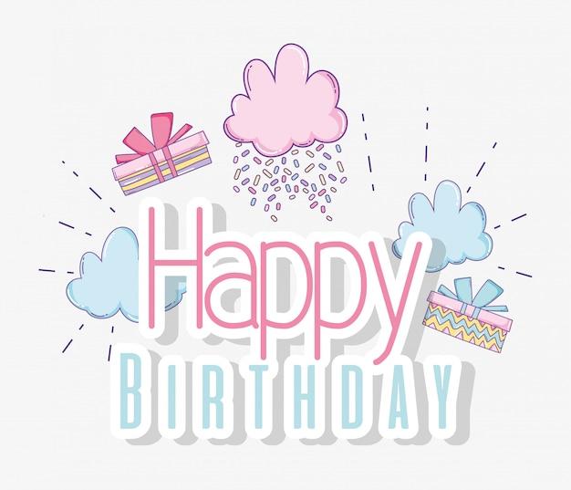 Joyeux anniversaire avec décoration nuages et cadeaux