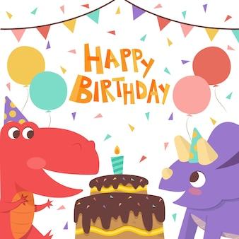 Joyeux anniversaire dinosaures avec gâteau