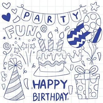 Joyeux anniversaire doodle dessiné à la main illustration d'ornements