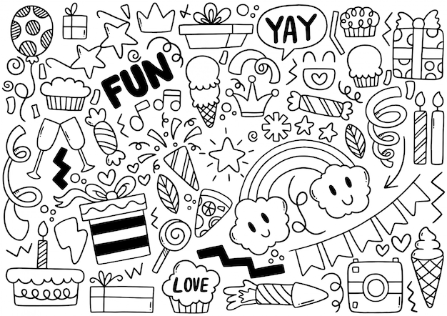 Joyeux anniversaire doodle fête dessiné à la main