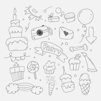 Joyeux anniversaire doodle fond en croquis dessinés à la main
