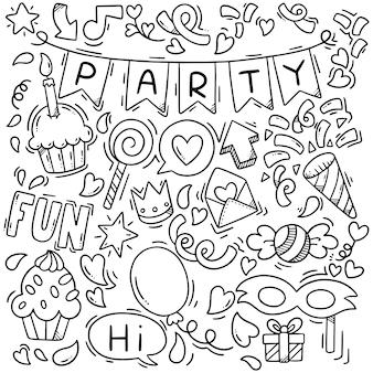 Joyeux anniversaire doodle parti dessiné à la main