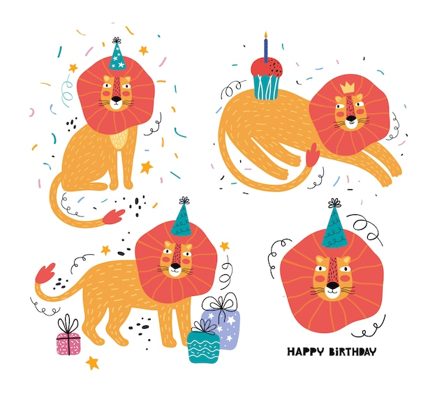 Joyeux anniversaire drôle lion ensemble dessiné à la main. fête des animaux sauvages. personnage animal mignon en vacances. décoration festive, cadeaux, casquette, gâteau. modèle de carte de voeux avec typographie. illustration plate