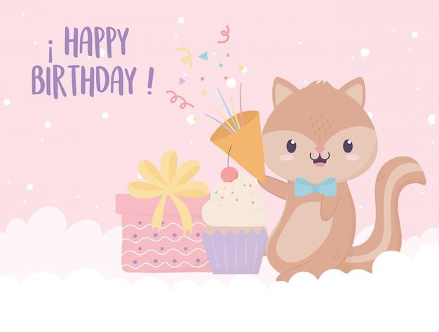 Joyeux anniversaire écureuil cadeau cupcake et confettis célébration décoration carte