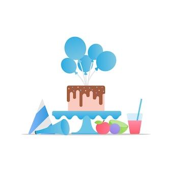 Joyeux anniversaire. fête d'anniversaire. table de fête avec des boules de gâteau et de la nourriture. vecteur eps 10