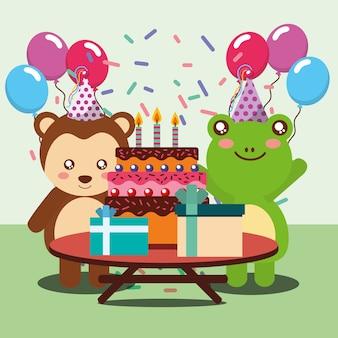 Joyeux anniversaire fête carte grenouille mignon et les animaux de singe