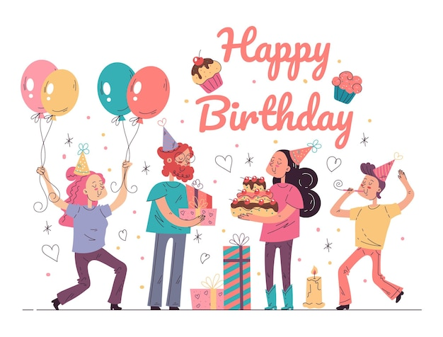 Joyeux anniversaire fête événement concept vector illustration graphique de dessin animé plat