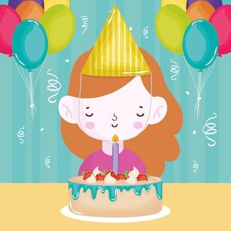 Joyeux anniversaire fille avec des confettis de ballons de bougie gâteau