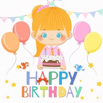 Joyeux anniversaire fille souriante avec des éléments de gâteau et d'anniversaire.