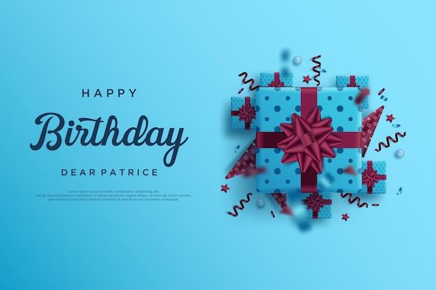 Joyeux anniversaire sur fond bleu avec plusieurs coffrets cadeaux
