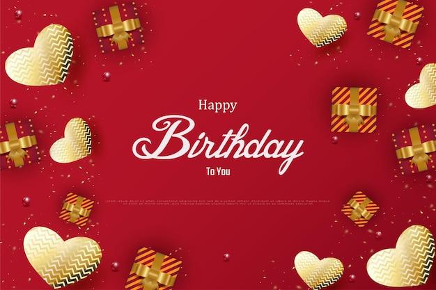 Joyeux anniversaire avec un fond de boîte-cadeau et une forme de coeur
