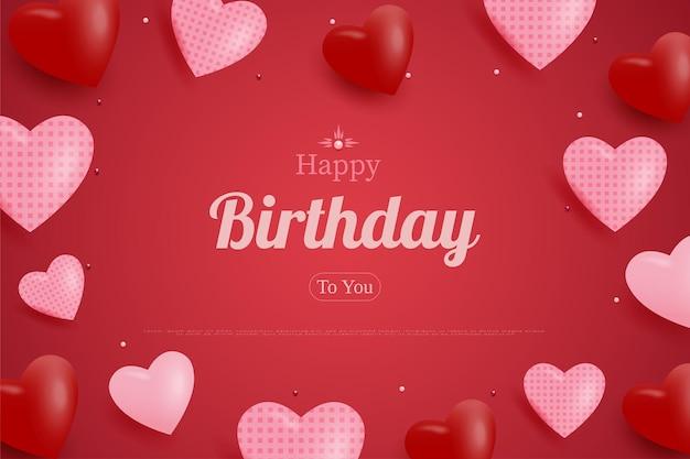 Joyeux anniversaire avec fond de coeurs