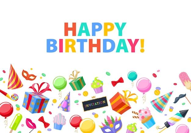 Joyeux anniversaire - fond festif de fête de carnaval. symboles colorés - chapeau, masque, cadeaux, ballons, feux d'artifice. invitation ou carte de voeux.