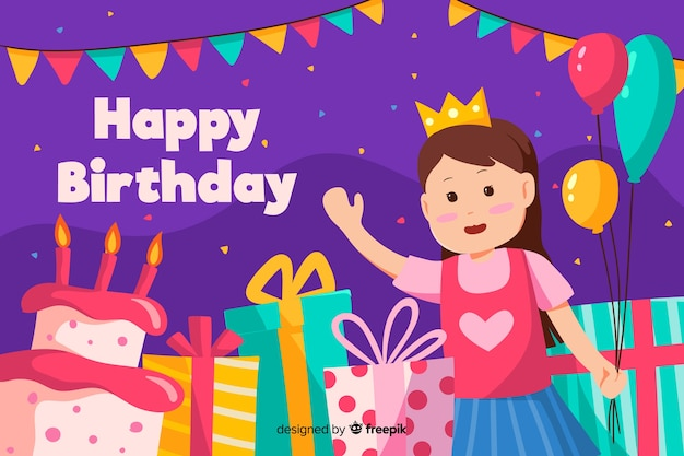 Joyeux anniversaire fond avec fille et cadeaux