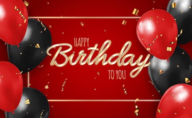 Joyeux anniversaire fond rouge avec des ballons réalistes.
