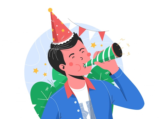 Joyeux anniversaire garçon soufflant de la trompette pour célébrer son anniversaire