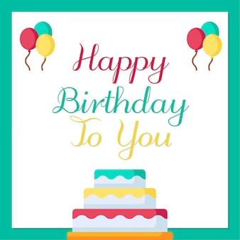 Joyeux anniversaire avec gâteau et ballons