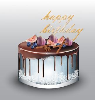Joyeux anniversaire gâteau bleu moderne aux fruits de la figue