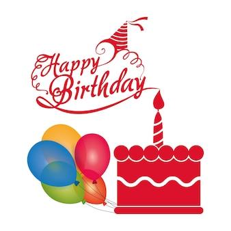 Joyeux anniversaire gâteau bougie ballons colorés