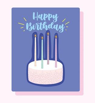 Joyeux anniversaire, gâteau avec des bougies allumées carte de décoration de célébration de dessin animé