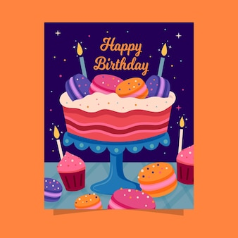 Joyeux anniversaire avec gâteau et bougies