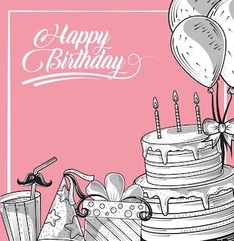 Joyeux anniversaire gâteau cadeau chapeau et ballons fête de célébration, carte de style de gravure