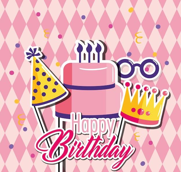 Joyeux anniversaire avec un gâteau et un chapeau amusant