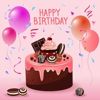 Joyeux anniversaire, gâteau, illustration