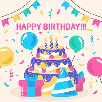 Joyeux anniversaire avec gâteau