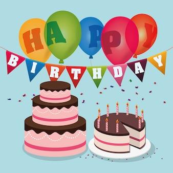 Joyeux anniversaire gâteaux ballons confettis guirlande