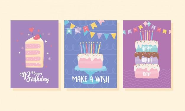 Joyeux anniversaire, gâteaux sucrés bougies fanions décoration célébration carte de voeux et modèles d'invitation à une fête