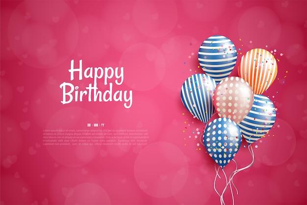 Joyeux anniversaire avec illustration de ballons colorés sur fond rouge.