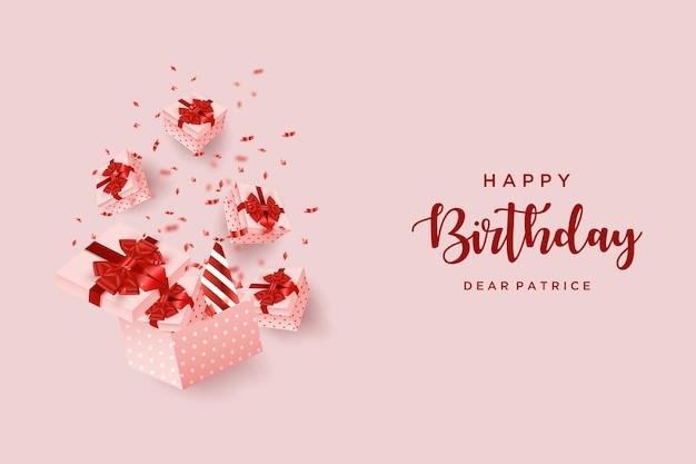 Joyeux anniversaire avec illustration de boîte-cadeau faisant apparaître divers cadeaux