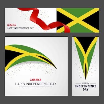 Joyeux anniversaire de l'indépendance de la jamaïque bannière et fond ensemble