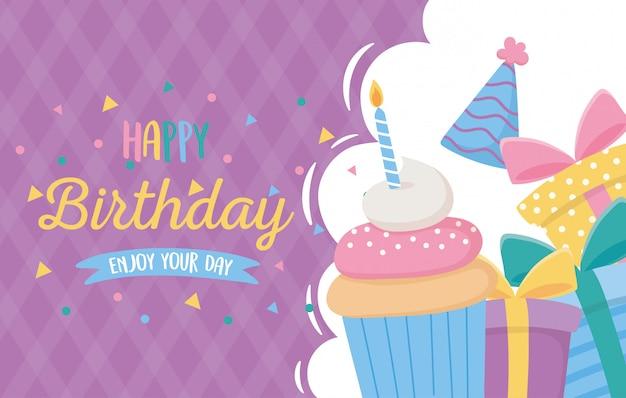 Joyeux anniversaire, invitation carte cupcake cadeaux chapeau célébration