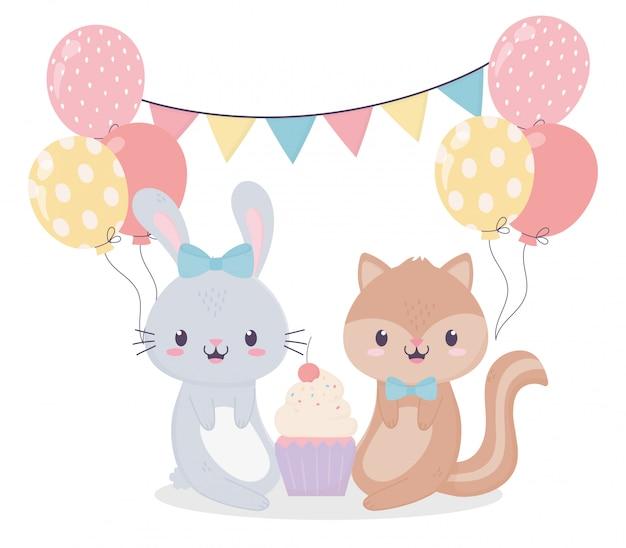 Joyeux anniversaire lapin écureuil cupcake ballons célébration décoration carte