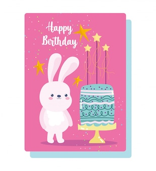 Joyeux anniversaire, lapin mignon avec gâteau et bougies carte de décoration de célébration de dessin animé