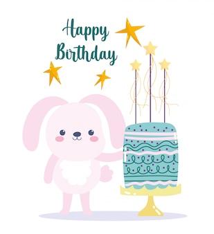 Joyeux anniversaire, lapin mignon avec gâteau et étoiles carte de décoration de célébration de dessin animé