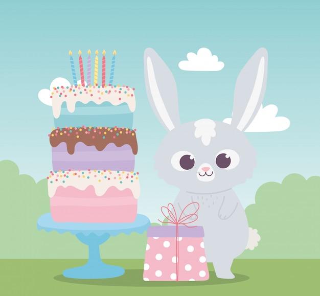 Joyeux anniversaire, lapin mignon avec gâteau sucré et dessin animé de décoration de célébration de cadeau