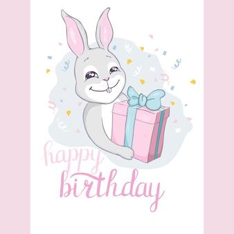 Joyeux anniversaire lapin mignon