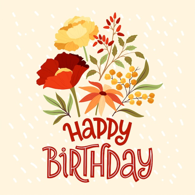 Joyeux anniversaire lettrage bouquet floral