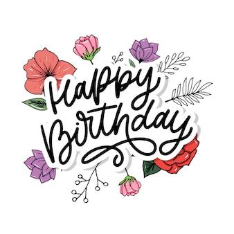 Joyeux anniversaire, lettrage, calligraphie, brosse, typographie, texte, illustration