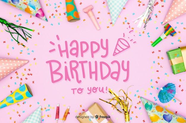 Joyeux anniversaire lettrage coloré avec photo