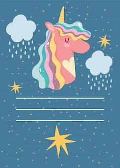 Joyeux anniversaire licorne dessin animé carte de voeux nuages étoiles gouttes de pluie