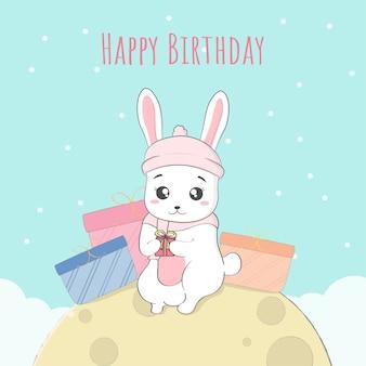 Joyeux anniversaire mignon bébé lapin