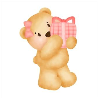 Joyeux anniversaire mignon ours en peluche tenant une boîte-cadeau.