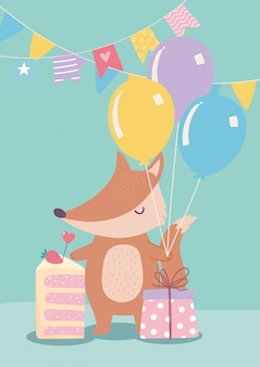 Joyeux anniversaire, mignon petit renard avec cadeau de gâteau et dessin animé de décoration de célébration de ballons