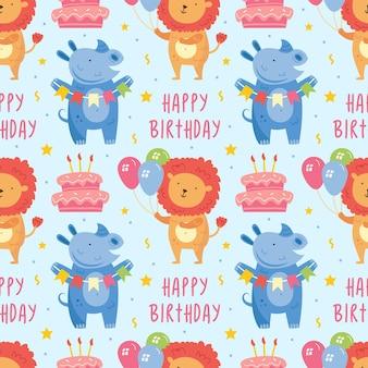 Joyeux anniversaire modèle sans couture lion animal mignon avec décoration de vacances de gâteau de rhinocéros ballons