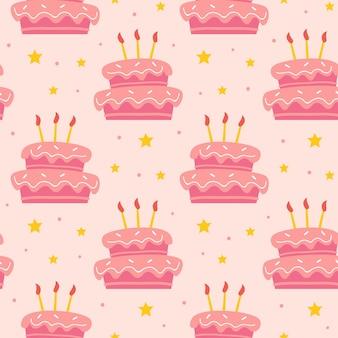 Joyeux anniversaire modèle sans couture mignon gâteau sucré savoureux avec décoration de vacances bougies
